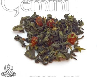 Gemini Loose Leaf Tea - loose leaf green tea, strawberry mint, Gemini Zodiac gift, astrology tea, birthday gift, star sign, dessert tea
