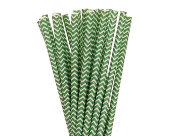 Paper Straws, Green Chevron Paper Straws, Graduation Party Straws, School Party Paper Straws, Christmas Straws, Emerald Green Chevron Straws