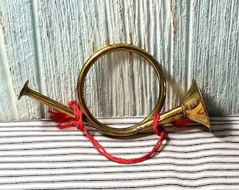 Vintage Brass Decorative Horn, Christmas Decoration Wall Decor, Small Military Style Horn