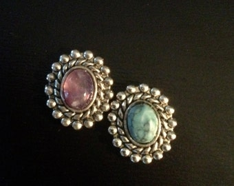 """PAIR Purple or Blue Stone small round gauges plugs 0g - 8mm 00g - 10mm 7/16"""" - 11mm 1/2"""" - 12mm"""
