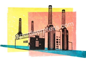 Battersea Power Station woodcut print. Modern art print. Interiors.