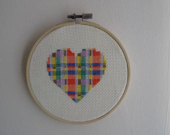 Geometric heart cross-stitch embroidery hoop, Embroidered heart, Geometric embroidery, Modern cross stitch, Contemporary, Mother's day gift