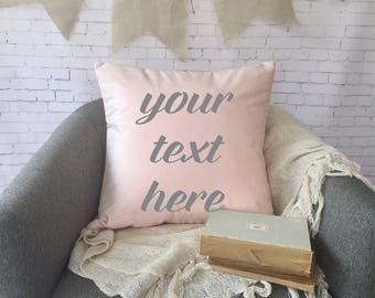 """blush pink velvet throw pillow cover, 18"""",  customize with your own text, baby girl pillow, personalized throw pillow, monogram pillow"""