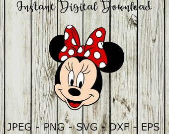 Minnie Mouse Face SVG DXF Png Vector Cut File Cricut Design Silhouette Vinyl Decal Disney Party Stencil Template Heat Transfer Iron