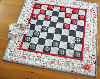 Cat Lover Checkerboard Game Quilted Table Runner | Kitty Checkers Game Quilt Gift for Cat Lovers  | Pussy Cat Game Night Board Game Quilt