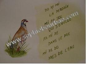 Nursery rhyme children Do Re Mi Partridge watercolor on paper