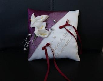 Plum and silver cushion