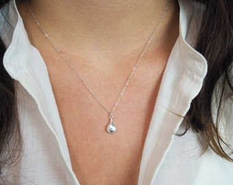 Sterling Silver Teardrop Necklace, Sterling Silver Necklace, Puffed Teardrop Necklace