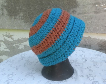 Crocheted Cap, Infant size 3 - 6 months, Teal and Brown, Cloche style, Stretchy