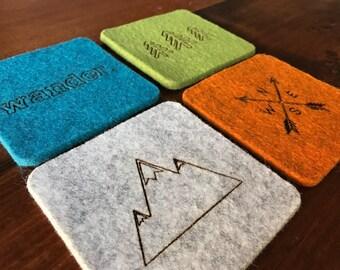 Wool Felt Coasters - Cabin Decor - Wander - Rustic home decor - Adventure decor - Drink Coasters - Set of 4 - 100% Merino Wool - Gift Set