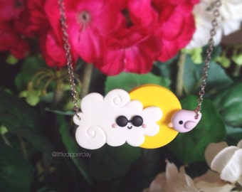 Partly Cloudy Necklace - handmade polymer clay jewelry
