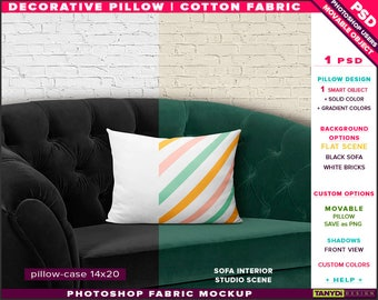 14x20 Decorative Pillow Cotton Fabric | Photoshop Fabric Mockup M1-1420-1 | Cushion on Black Sofa | Smart Object Custom colors