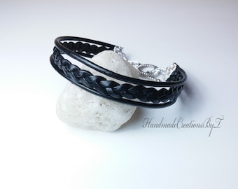 Leather Bracelet, Black Braided, Silver Toggle Clasp, Leather Jewelry