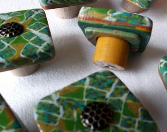 Furniture buttons, green, ochre, turquoise and light grey, Brad honeycomb