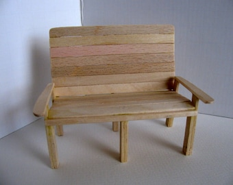 Miniature Love Seat / 1:12 Scale Doll House Garden Furniture / Handmade with Unfinished Birch