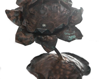 Handmade copper Waterlily Candleholder
