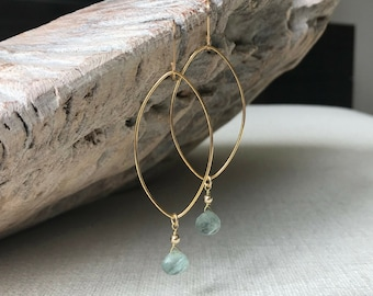 Gold Moss Aquamarine Hoop Earrings
