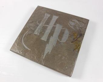 Potterhead Art Tile - Carved Slate Coaster Art - Etched Stone Art Coaster, Coaster Art, Harry Potter Decor Wizard Fantasy Room Decor