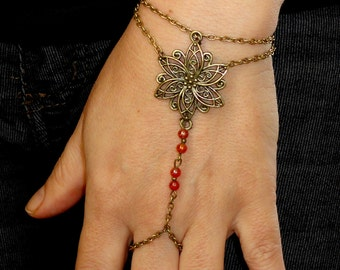 Slave bracelet, Antique bronze slave bracelet ring, Carnelian hand bracelet, Bohemian hand jewelry, Bronze bracelet ring, Carnelian jewelry