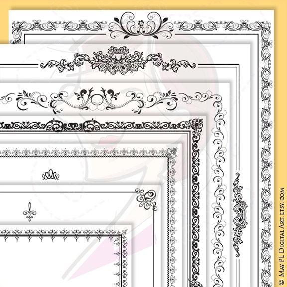 Page Borders Frames Black 8 x 11 Rectangle Digital VECTOR