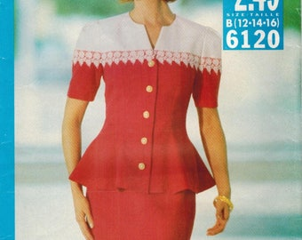 1990s Butterick 6120 Vintage Sewing Pattern Misses 2 Piece Dress Top Skirt Size 12 Size 14