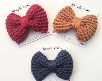 Crochet Hair Bow: Set of 3 Crochet Hair Bows - Crocheted Hair Clip - Crochet Bowtie - Infant Hair Bow- Hair Clip - Crochet Bow - Warm colors
