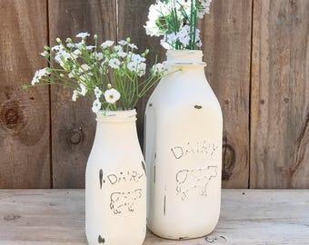 Dairy Milk Bottle, Painted Milk Jar