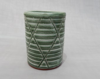 Pottery Cup - Green Glazed Terracotta Tumbler - Handmade Pottery