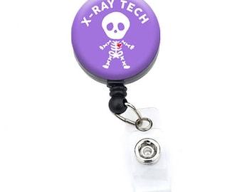 Badge Reel// Retractable Badge Holder// X-Ray Tech (Skeleton_Purple 1.25)