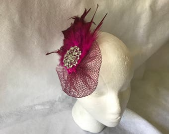Raspberry Pink Wedding Hair Clip, Hot Pink Fascinator, Fuschia Pink Feather Headband, Feather Hair Clip, Wedding Accessories
