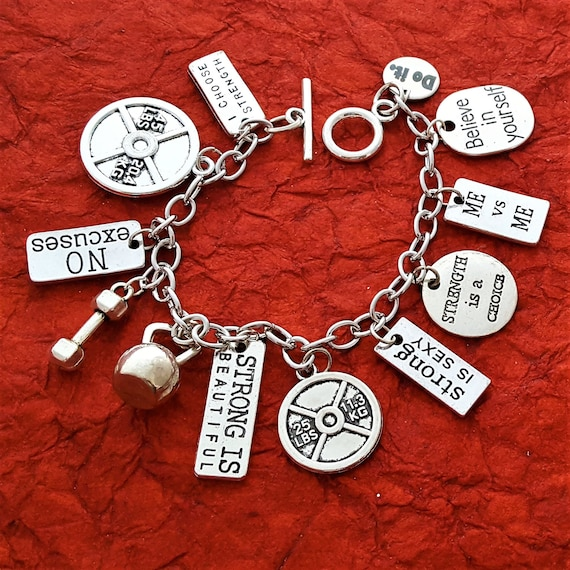 YOU Pick Fitness Charm Bracelet, Crossfit Jewelry, Fitness Gift, Custom Weightlifting Bodybuilding Jewelry, Motivational Quote, Word Charms