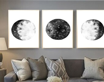 Moon Phases Watercolor Art Print Black Moon Phases Set of 3 Lunar Phases Poster Moon Painting Moon wall art Black Moon Phases art decor