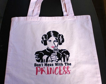 Don't Mess With The Princess Tote Bag - Small Bag - Vinyl Letters - Light Pink