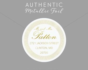 Gold Foil Return Address Label, Envelope Seal, Custom Address Label, Address Sticker, Gold Foil, Gold Foil Sticker, Gold Return Address
