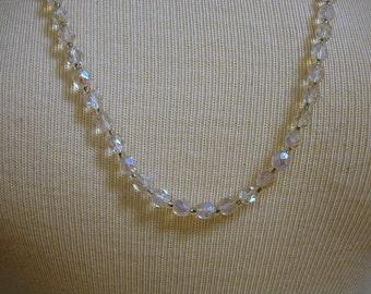 Vintage 1950's Aurora Borealis Glass Bead Necklace Jewelry