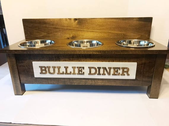 rustic wooden dog dish stand 3 bowl dog feeder personalized. Black Bedroom Furniture Sets. Home Design Ideas