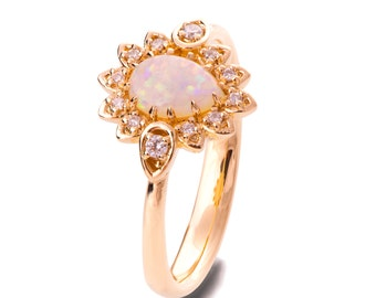 Opal engagement ring, Opal ring, Rose Gold Ring, Opal Jewelry, Unique Engagement ring, Opal Diamond Ring, Leaves Opal Ring, Opal Petal