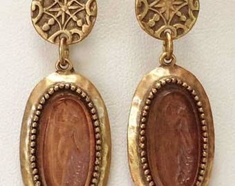 Old World Dangling 'Intaglio Cameo' Full Length Lady Earrings