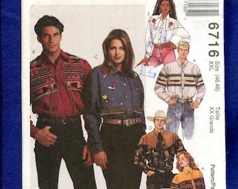 McCall's  6716 Western Shirts for Men & Women Size XXL 24/26 UNCUT