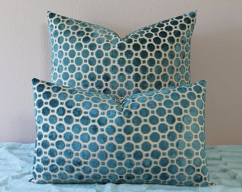"Robert Allen Velvet Geo in Turquoise - 12"" x 20"" Decorative Designer Lumbar Pillow Cover"