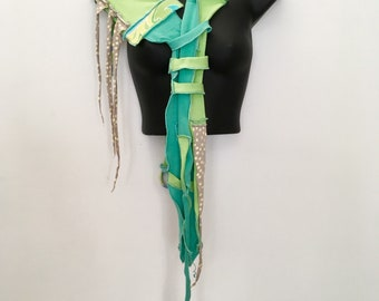 Momma Dust...Sculpted Skinny Scarf OOAK, Recycled