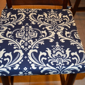 Chair Cushion Navy Blue With Cream Twill Fabric Replacement Cover Stool