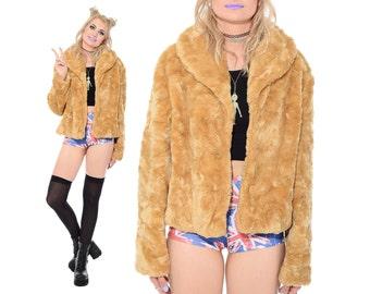 Vintage 90s Club Kid FAUX FUR Soft Plush Jacket Coat Furry Grunge Rave Boho M L vtg