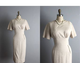 50's Dress // Vintage 1950's Textured Ecru Cotton Fitted Garden Party Dress S
