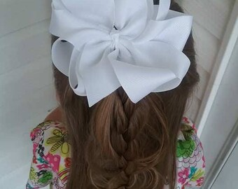 Octopus Bow , Solid Color Hair Bow , 4 Inch Hair Bow , 8 Loop Bow , Choose Your Color , Boutique Hair Bow