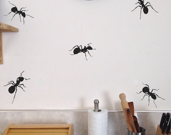 Ants Kitchen Wall Decals, Set of 10, Big Bugs Summer Picnic