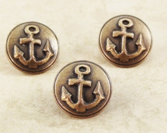 Anchor Metal Buttons 15mm Bronze Antique Brass Nautical Qty 3