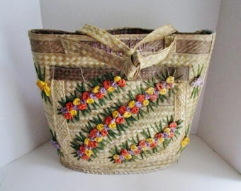 Vintage Straw Tote Bag Large Tote Bahama Fabric Lined Straw Flowers