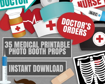 35 Medical Themed Party Photo Booth Props, Doctor props, love medical hospital party photobooth sign, nurse photobooth props, diy party prop