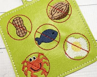 Multiple  Allergy Alert Clip On Tag for backpacks - medical alert - teacher alert - nonverbal communication -Allergy Awareness